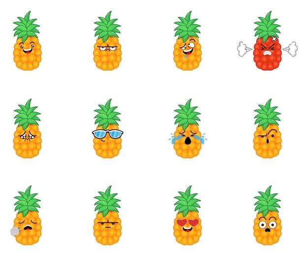 Conjunto de emoticons adoráveis de abacaxi, expressões faciais fofas de desenho de abacaxi