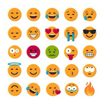 Conjunto de emoticons amarelos redondos simples