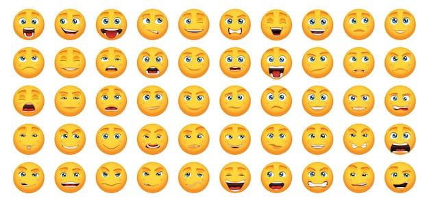 Conjunto de emoticons amarelos