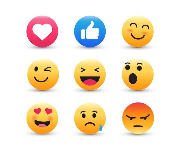 Conjunto de emoticons amarelos.