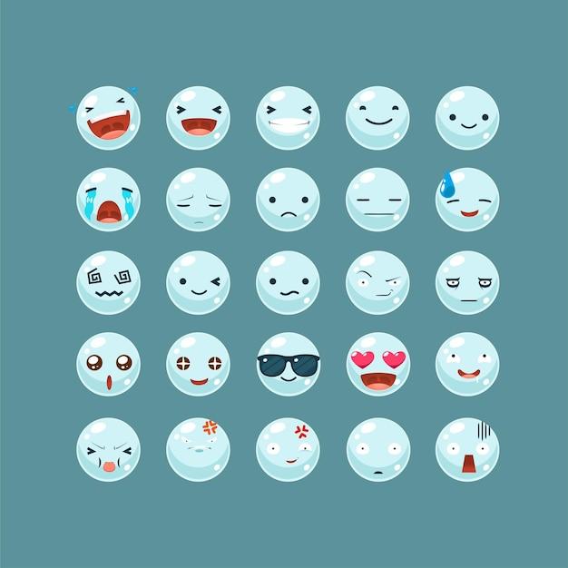 Conjunto de emoticons da bolha de água.