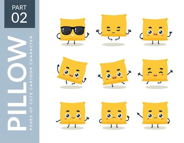 Conjunto de emoticons de almofada amarela. segundo set. ilustração vetorial