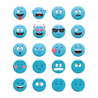 Conjunto de emoticons de bate-papo azul