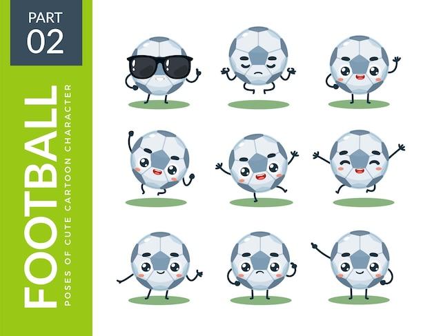Conjunto de emoticons de bola de futebol. segundo set. ilustração vetorial
