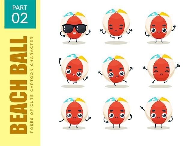 Conjunto de emoticons de bola de praia. segundo set. ilustração vetorial