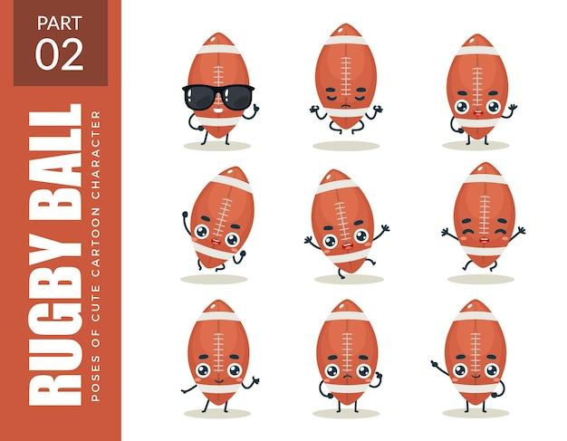 Conjunto de emoticons de bola de rugby. segundo set. ilustração vetorial