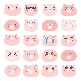 Conjunto de emoticons de cara de porco, design de personagens de porco bonito.