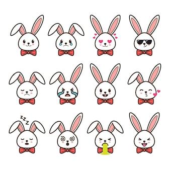 Conjunto de emoticons de coelho