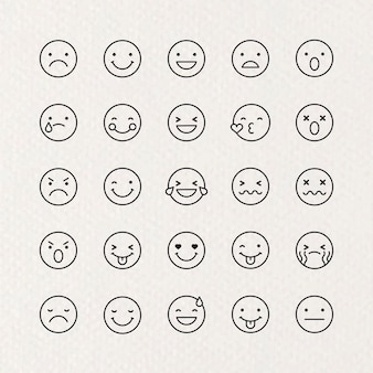 Conjunto de emoticons de contorno preto isolado em fundo bege