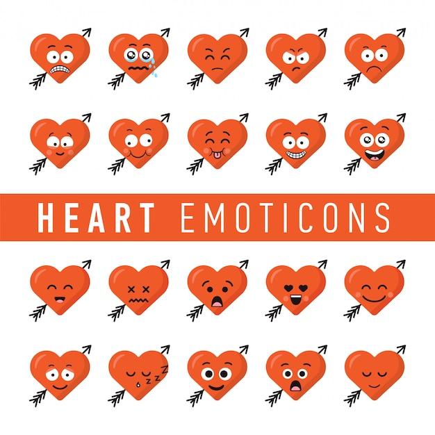 Conjunto de emoticons de coração estilo design plano