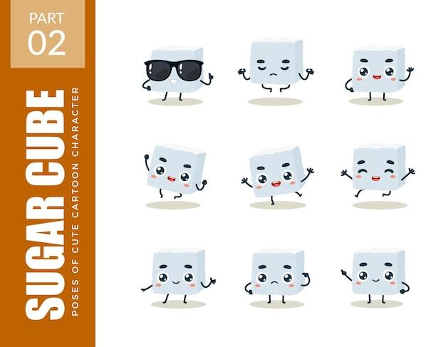 Conjunto de emoticons de cubo de açúcar. segundo set. ilustração vetorial
