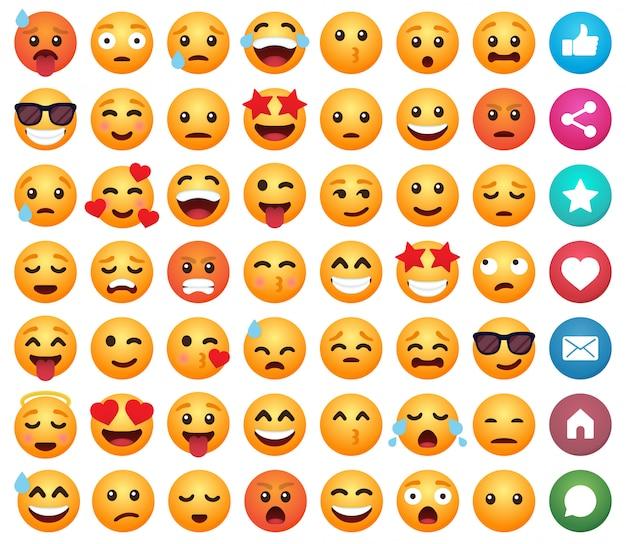 Conjunto de emoticons de desenhos animados emoticon sorrir para mídias sociais