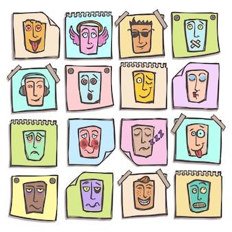 Conjunto de emoticons de esboço