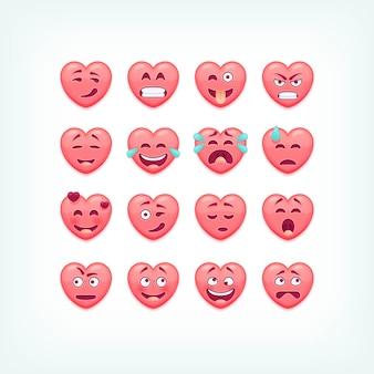 Conjunto de emoticons de forma de coração. smileys românticos e de dia dos namorados, emojies.