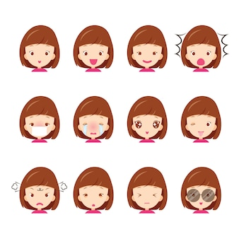 Conjunto de emoticons de linda garota com várias emoções