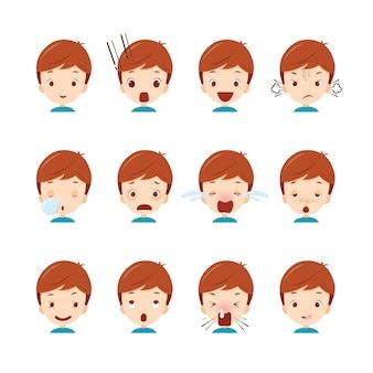 Conjunto de emoticons de menino bonito com várias emoções