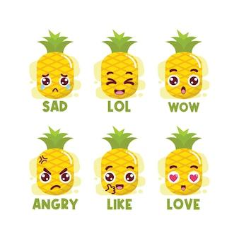 Conjunto de emoticons de mídia social abacaxi