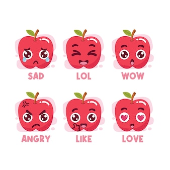 Conjunto de emoticons de mídia social da apple