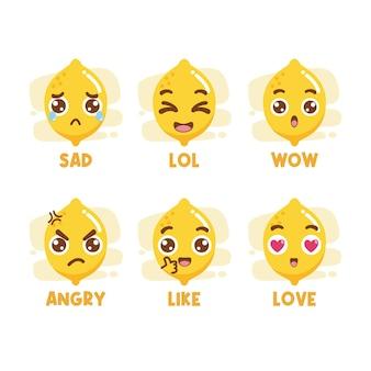 Conjunto de emoticons de mídia social lemon