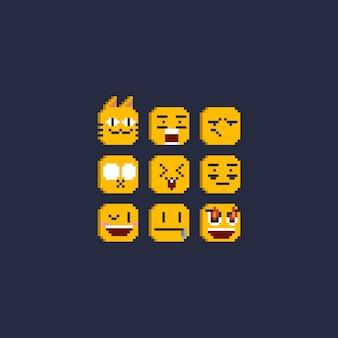 Conjunto de emoticons de pixel de 8 bits