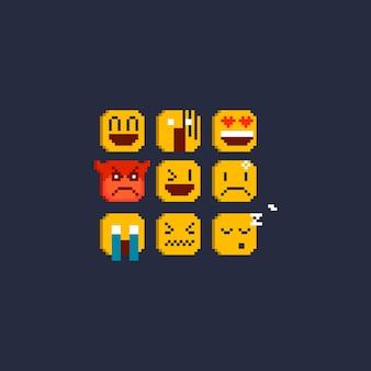Conjunto de emoticons de pixel
