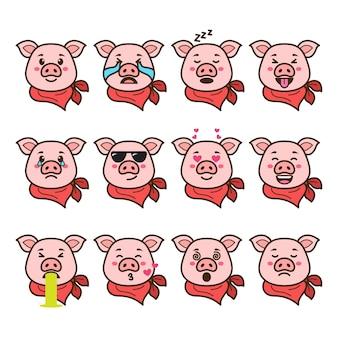 Conjunto de emoticons de porco