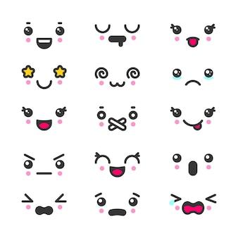 Conjunto de emoticons de rostos bonitos do kawaii.