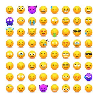 Conjunto de emoticons de sorriso fofo