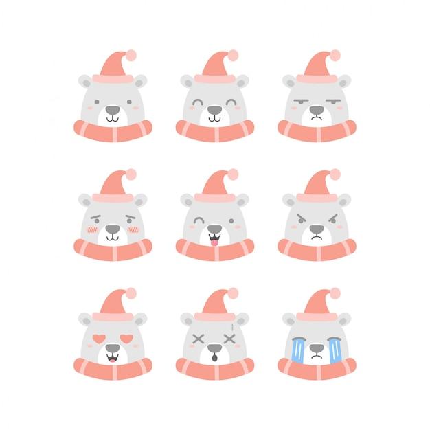 Conjunto de emoticons de urso polar bonito