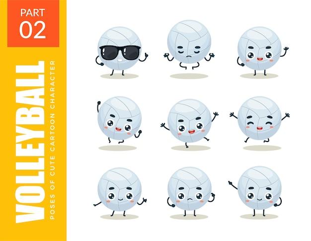 Conjunto de emoticons de voleibol. segundo set. ilustração vetorial