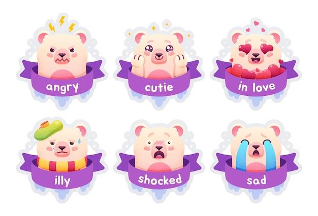 Conjunto de emoticons, emblemas, patches, ursinho polar, adesivos animais engraçados