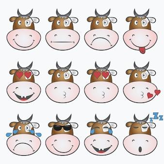 Conjunto de emoticons. emoji com cara de vaca. ícone de smiley. ilustração vetorial.