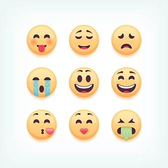 Conjunto de emoticons, emoji em fundo branco, ilustração.