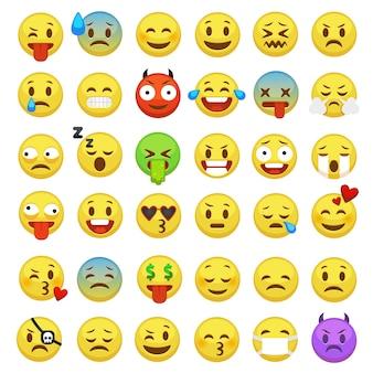 Conjunto de emoticons. emoji enfrenta emoticon sorriso engraçado expressão digital sorridente