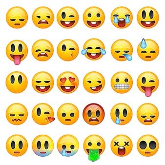 Conjunto de emoticons, emoji isolado no fundo branco, ilustração.