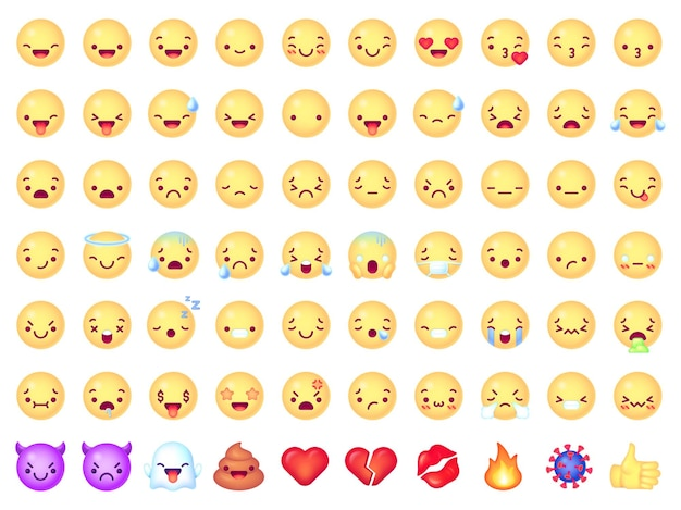 Conjunto de emoticons emojis