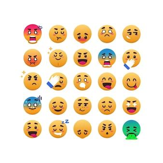 Conjunto de emoticons engraçados e expressivos