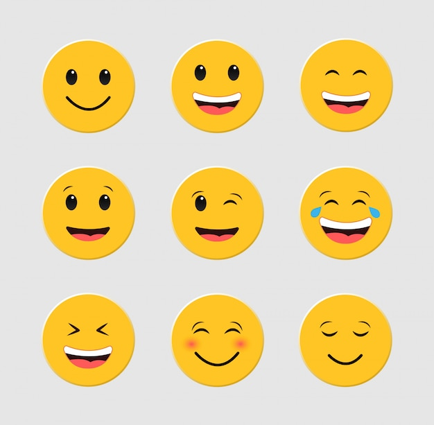 Conjunto de emoticons engraçados. emoji. conjunto de smileys.