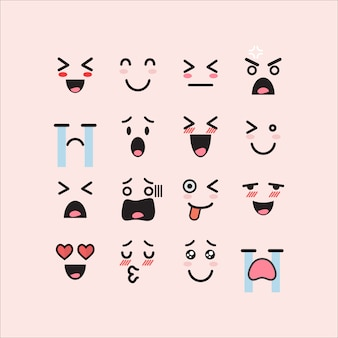 Conjunto de emoticons faciais