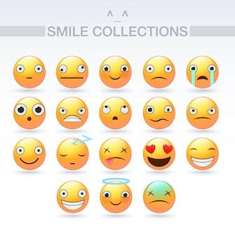 Conjunto de emoticons ícones do sorriso. design plano de vector emoji, ilustração