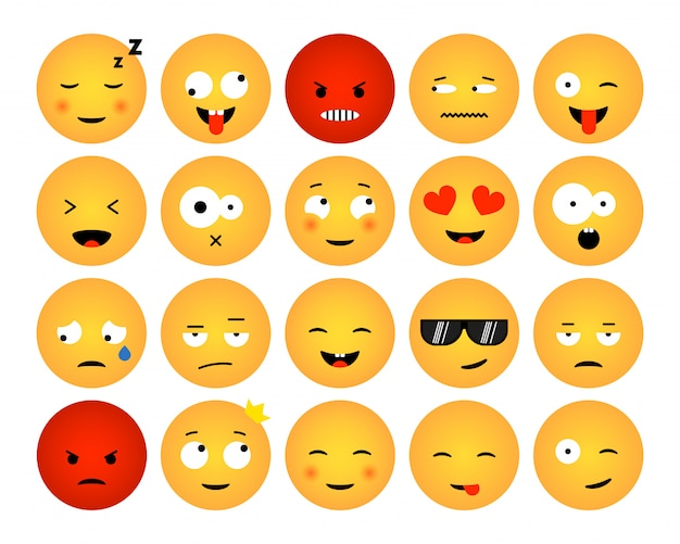 Conjunto de emoticons isolados no fundo branco. design plano de coleções de emoji para mídia social, web, impressão, aplicativos. ilustração