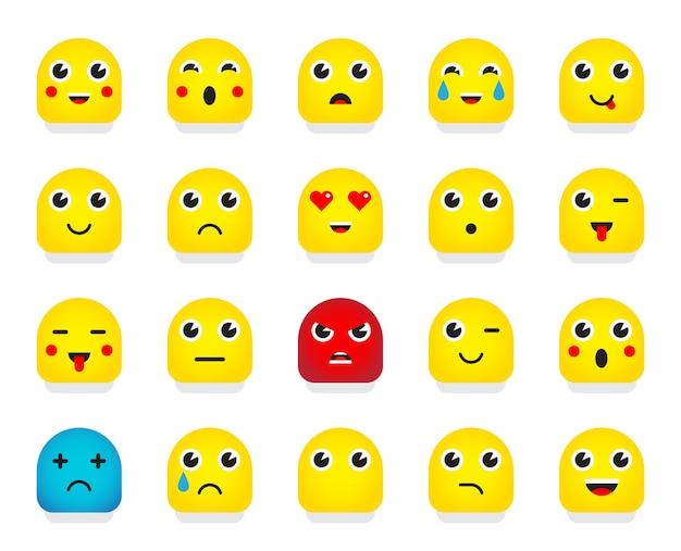 Conjunto de emoticons ou emoji. ilustração.