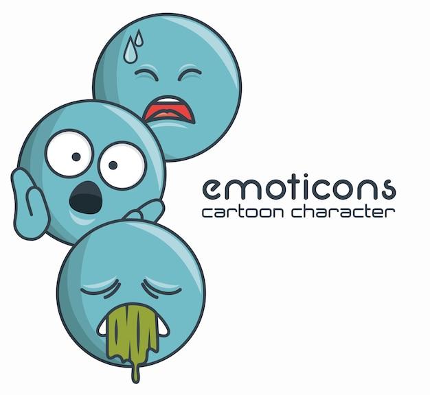 Conjunto de emoticons personagem triste surpresa doente design