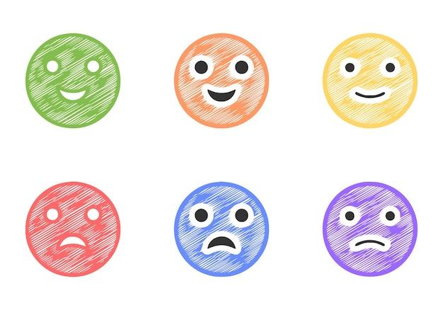 Conjunto de emoticons positivos e negativos no estilo rabisco, vetor de clip-art