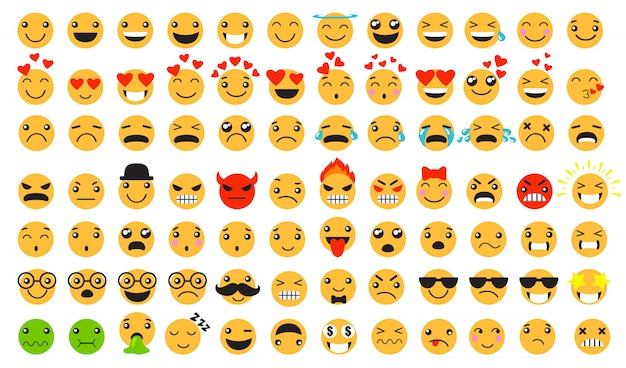 Conjunto de emoticons tristes e felizes