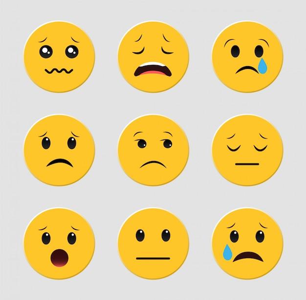 Conjunto de emoticons tristes. emoji. conjunto de smileys.