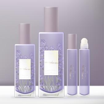 Conjunto de empacotamento de garrafa de vidro de perfume violeta de lavanda com rolo no tubo de vidro de óleo de fragrância