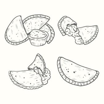 Conjunto de empanada de mão desenhada