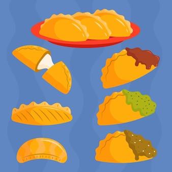 Conjunto de empanada tradicional deliciosa
