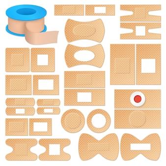 Conjunto de emplastros adesivos realistas